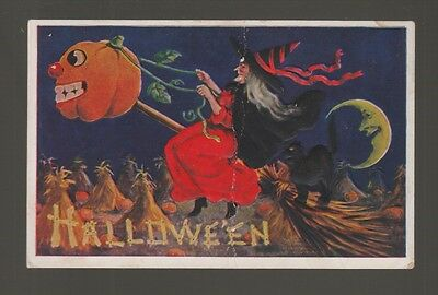 [59449] 1909 POSTCARD HALLOWEEN with WITCH,  JACK-O'-LANTERN, and BLACK CAT