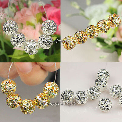 50pcs Silver/Gold Plated Flower Ball Rhinestone Crystal Spacer Beads 6,8,10mm