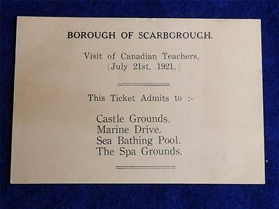 Visit Of Canadian Teachers Ticket Borough Of Scarborough July 1921 Vintage