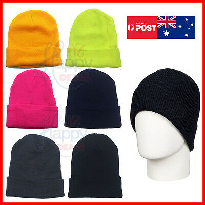 Unisex Plain Beanie Winter Warm Navy Black Knitting Men Women Ski Cap Hip-Hop