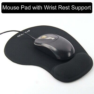 Black Mouse Pad Gel Wrist Rest Support Mat Slip Resistant Soft Textured Surface