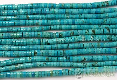 Natural Turquoise Gemstone Heishi Beads Spacer 16'' 3mm 4mm 6mm 8mm 10mm 12mm