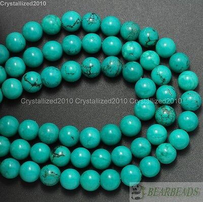 Natural Turquoise Gemstone Round Spacer Beads 2mm 3mm 4mm 6mm 8mm 10mm 12mm 16""