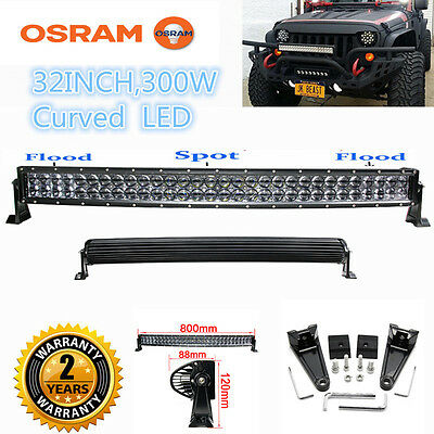 "Xmas! 300W LED Combo Work Light Bar 32"" Curved Offroad Driving 4WD Truck ATV"