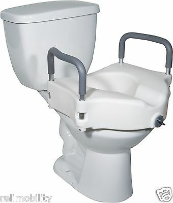 """5"""" Raised Elevated Toilet Seat Raiser With Removable Arms Armrests"""