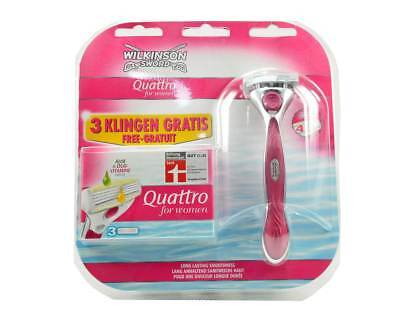 Wilkinson Quattro for Women 1 Rasierapparat + 4 Rasierklingen Aloe & Duo-Vitamin