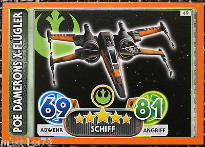 Topps Star Wars- Force Attax Extra Karte Nr.49 Poe Damerons X - Flügler