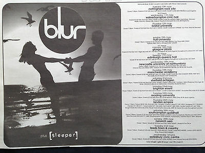 "BLUR # 1994 ORIGINAL TOUR DATES ADVERT # 8""x 11"""