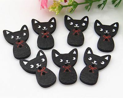 60pcs Black Printing Cat Sewing 2-Hole Wooden Button Scrapbooking Applique 27mm
