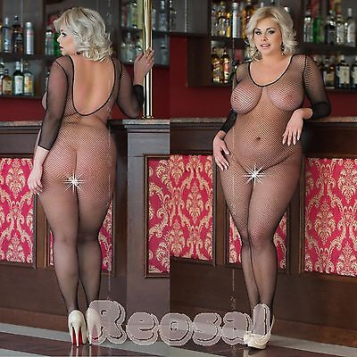 Plus Size - Sexy Netz Body, Schritt offen, Catsuits Body Stocking, XL-XXXL