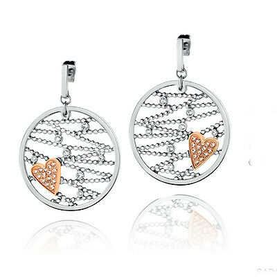 Morellato Silver & Rose Gold My Heart Earrings with Swarovski Crystals - SADA06