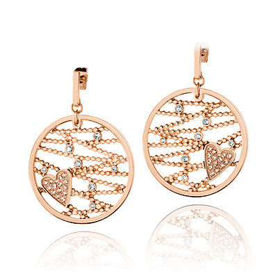Original Morellato Rose Gold My Heart Earrings with Swarovski Crystals - SADA02