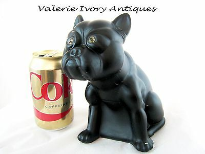Large Vintage Black Glass Czech French Bull Dog - 7inches