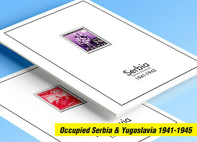 COLOR PRINTED OCCUPIED YUGOSLAVIA 1944-1945 STAMP ALBUM PAGES (8 illustr. pages)