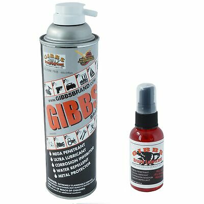 Gibbs Brand Lubricant, Penetrant, Water Repellent, 12 oz Spray and 2 oz Bottle