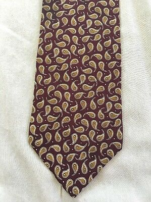 Structure Burgundy Gold Cream Paisley Classic Soft Silk Mens Neck Tie