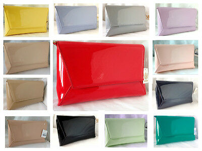 New Nude Red Pink Blue Navy Yellow Faux Patent Leather Evening Day Clutch Bag