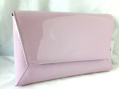 2726657b24 New Lilac Faux Patent Leather Evening Day Clutch Bag Wedding Prom Party Club