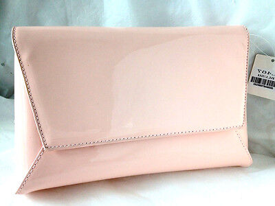 New Pale Baby Pink Faux Patent Leather Evening Day Clutch Bag Wedding Prom Party