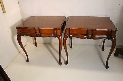 Gorgeous Pair of French Country Walnut Sofa Side End Tables With Drawer
