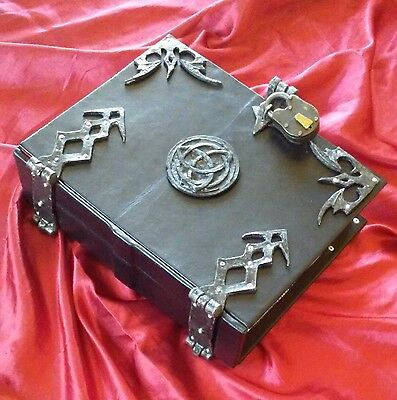 400 REMOVABLE page Black Leather Triquetra Grimoire Book of Shadows