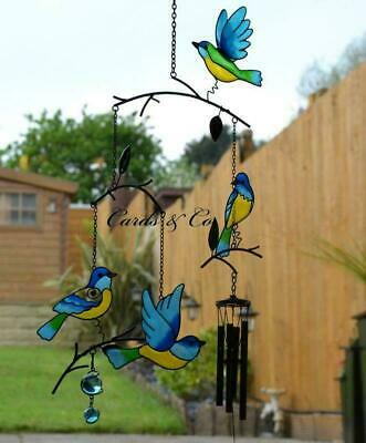 Stained Glass Effect Blue Birds Triple Windchime Sun Catcher Garden Home Mobile