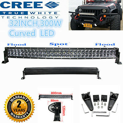 "CREE 300W 32"" Curved LED Combo Work Light Bar Offroad Driving 4WD Truck ATV AWD"