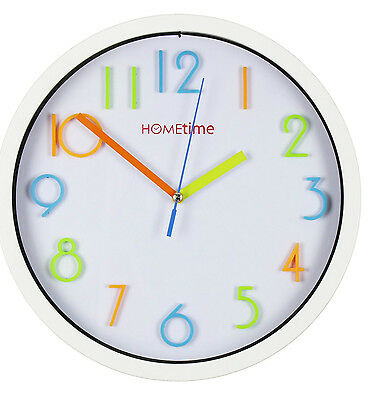 Hometime Plastic White Wall Clock 25cm For Children Rooms Rainbow Colours W7329