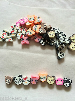 Animal Face Clay Beads - Assorted packs of 10 Beads