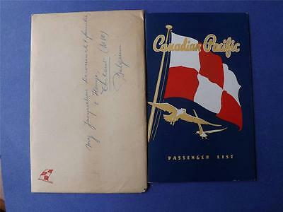 Canadian Pacific Passenger List 1948 Empress Of Canada With Envelope Steamship