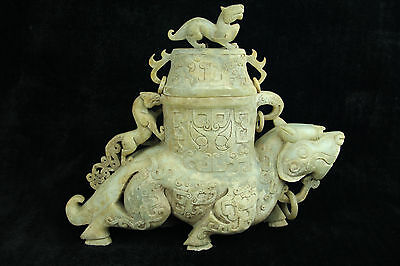 Exquisite Rare Old Chinese antique Han Dy Jade hand-carved beast Zun Vase