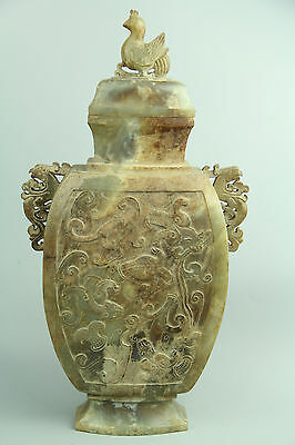 Exquisite Rare Chinese antique Han Dy Jade hand-carved Dragon Phoenix Vase