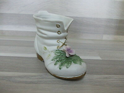 Bisque porcelain shoe vase with flowers