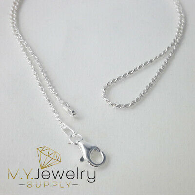 """925 Sterling Silver Diamond Cut Rope Chain Necklace 1.2mm 16"""" 18"""" 20"""" 24"""" 30"""""""