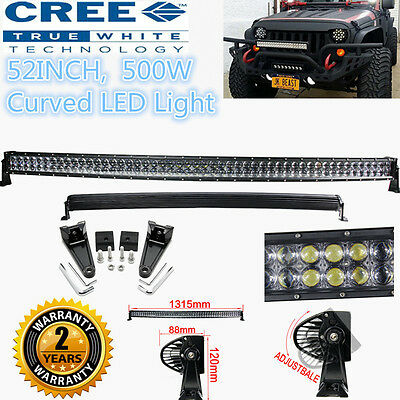 "CREE 500W 52"" Curved LED Combo Work Light Bar Offroad Driving 4WD Truck ATV AWD"