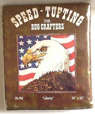 Vtg Speed-Tufting Liberty 36-762 Rug Crafters  Kit 1981 Eagle Flag