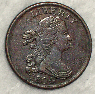 1804 Draped Bust Half Cent *SPIKED CHIN* XF Detailing Nice Brown Tone Authentic