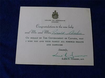 Baby Congratulations Notice Greeting House Of Commons Canada Kieth Hymmen M.p.