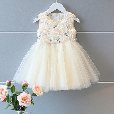 Kids Baby Flower Sequin Princess Dress Tutu Party Dresses Girl Clothes Outfits