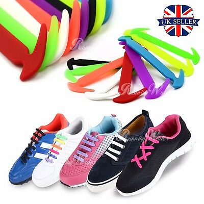Kids Adult Easy No Tie Elastic Shoe Lace 100% Silicone Trainers Shoes Shoelaces