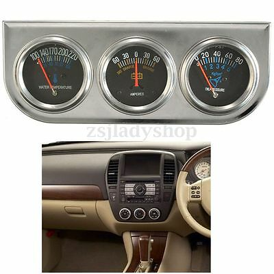 Mechanical Auto Meter Trio Ammeter +Water Temp+Oil Pressure Gauge Set With Panel