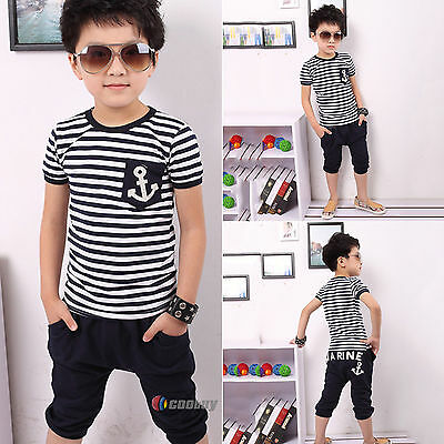 Kids Boys Zebra Stripe T-shirt Tops + Shorts Pants Trousers Sets Outfits Summer
