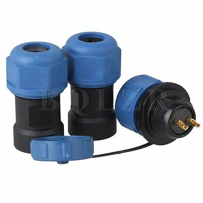 SP17 Waterproof Aviation 2 Pin 17mm Panel Mount Connectors Black and Blue