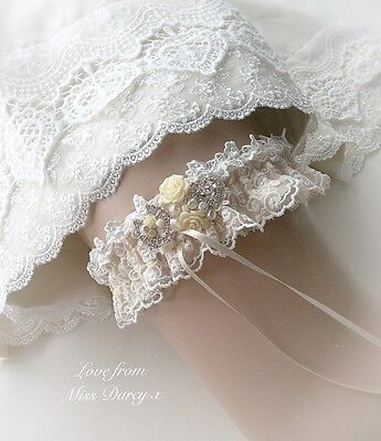 Ivory Lace Champagne Blue Diamante Personalised Wedding Brides Bridal Hen Garter