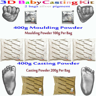 3D Baby Casting Kit 400gMoulding+400gCasting Hands&feet+2bags silver pigment
