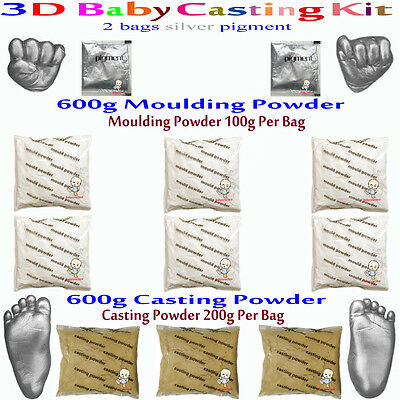 3D Baby Casting Kit 600gMoulding+600gCasting Hands&feet+2bags silver pigment