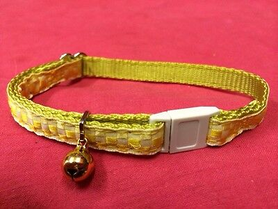 Cat kitten Collar Adj Nylon 2 Tone Checked YELLOW Quick Release Safety Buckle