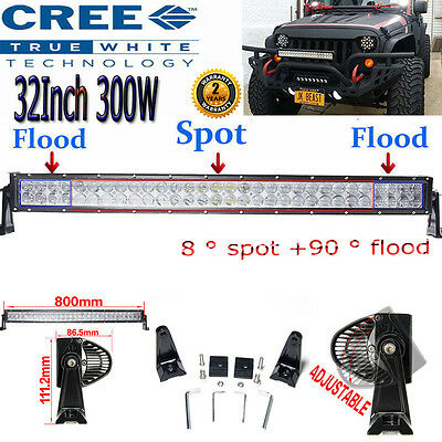 32Inch CREE 300W LED Flood Spot Work Light Bar Offroad Driving 4WD Truck ATV CAR