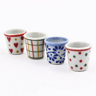 Mix Cute Flower Pot Pottery Figurines Ceramic Miniature 23mm Dollhouse Cup A1350