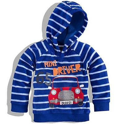 NEW Minoti Boys Striped Fleece Hooded Top Blue Car Quality Children Clothes SC7
